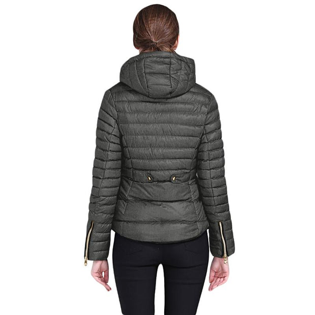 Dark Gray Hooded Cotton Jacket with Zipped Pockets-Outerwear, Suits & Coats-Azura Exchange