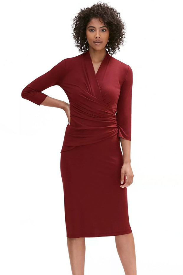 Dark Red Long Sleeve Pleated Wrap Midi Dress-Dresses, Midi Dresses-Azura Exchange