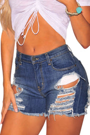 Denim Ripped Destroyed High Waist Shorts-Bottoms, Jeans-Azura Exchange