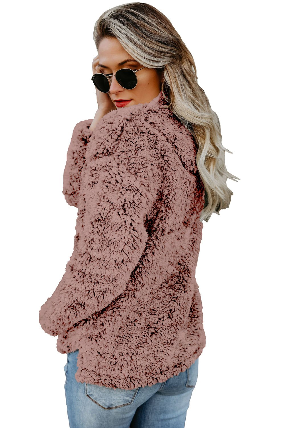 Dusty Pink Zipper Fleece Pullover Coat-Outerwear, Sweatshirts & Hoodies-Azura Exchange
