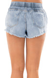 Faded Blue Wash Distressed Denim Shorts-Bottoms, Jeans-Azura Exchange