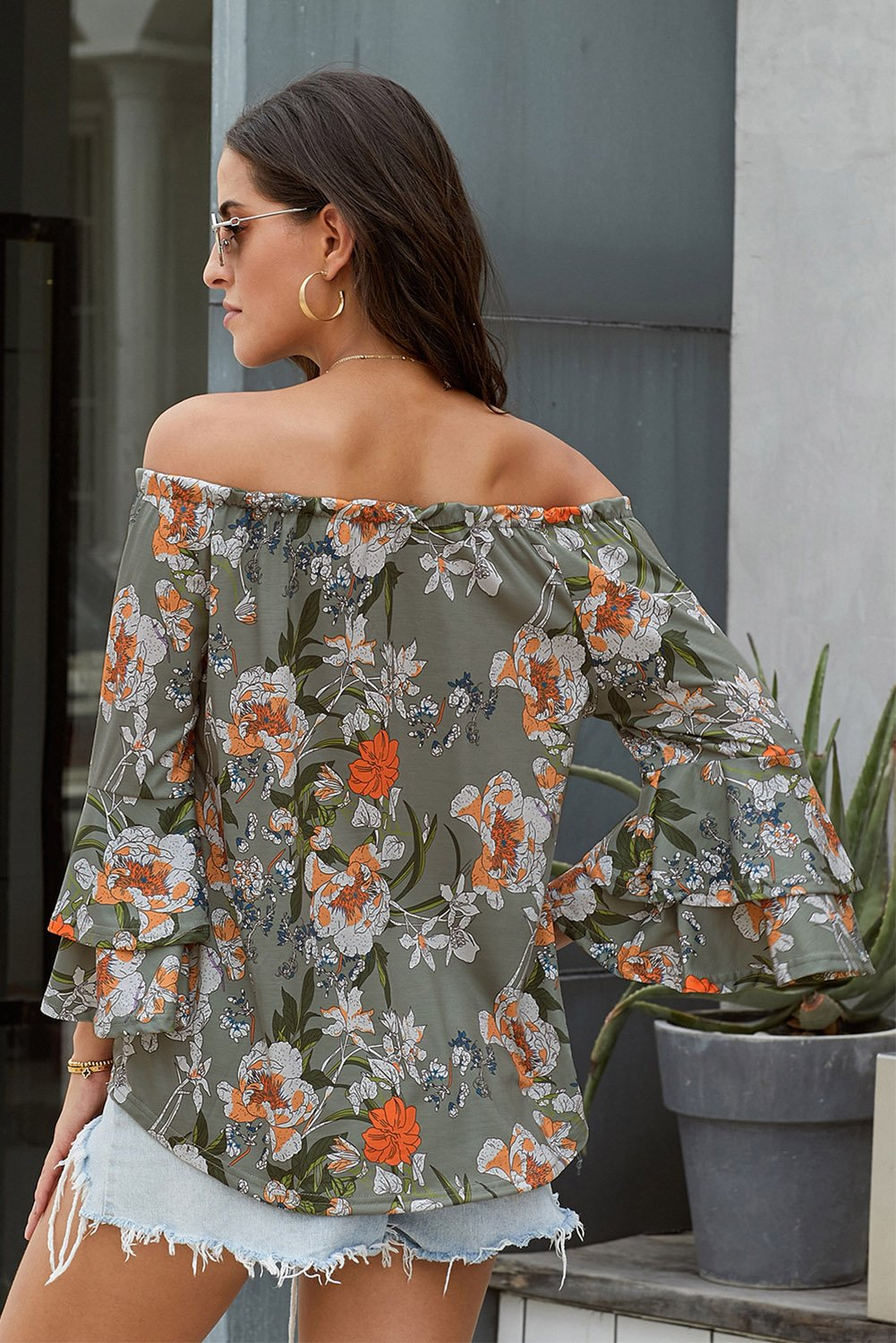 Gray Elasticised Neck Floral Print Blouse-Tops, Blouses & Shirts-Azura Exchange