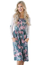Gray Floral Stripe Long Sleeve Side Pocket Boho Dress-Dresses, Floral Dresses-Azura Exchange