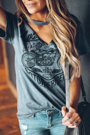 Gray Funny Motorcycle Printed Halter V-Neck Short Sleeve Graphic Tee-Tops, Tops & Tees-Azura Exchange