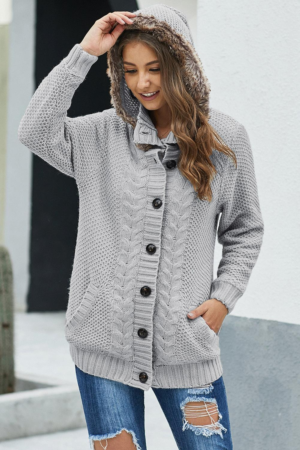 Gray Fur Hood Knit Sweater-Outerwear, Sweaters & Cardigans-Azura Exchange