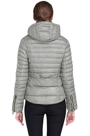 Gray Hooded Cotton Jacket with Zipped Pockets-Outerwear, Suits & Coats-Azura Exchange