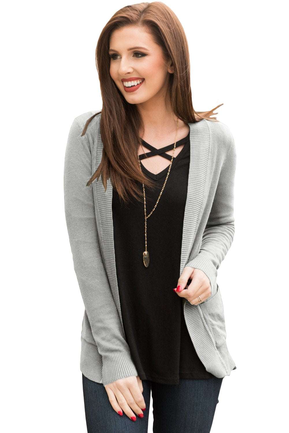 Gray Knit Long Sleeve Cardigan Top with Pockets-Outerwear, Sweaters & Cardigans-Azura Exchange