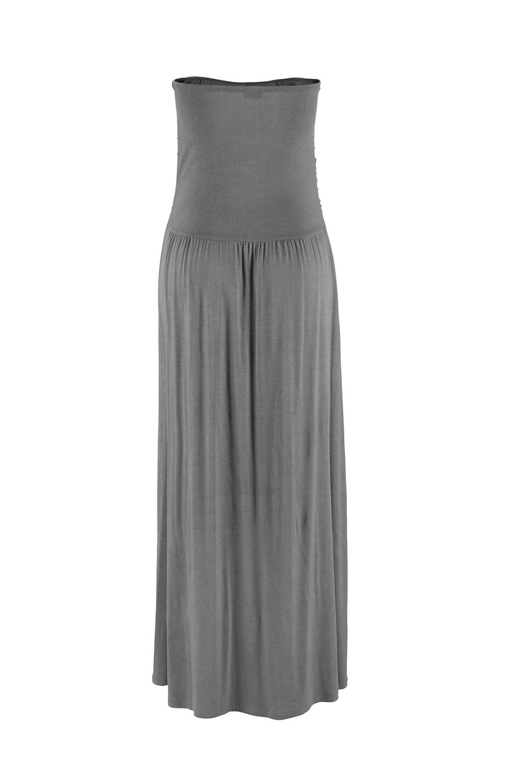 Gray Strapless Bodice Empire Waist Maxi Dress-Dresses, Maxi Dresses-Azura Exchange