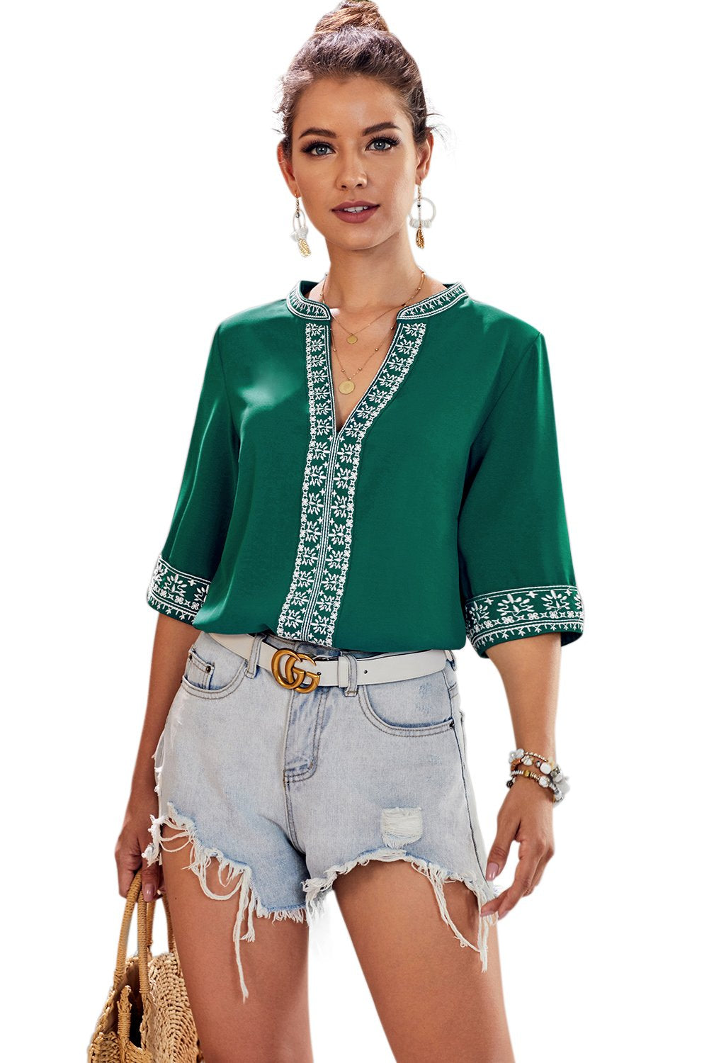 Green Chic Boho V Neckline Half Sleeve Blouse-Tops, Blouses & Shirts-Azura Exchange