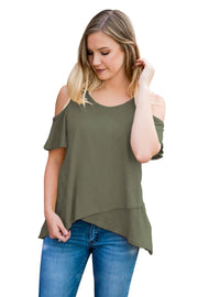 Green Cold Shoulder High Low Top-Tops, Tops & Tees-Azura Exchange