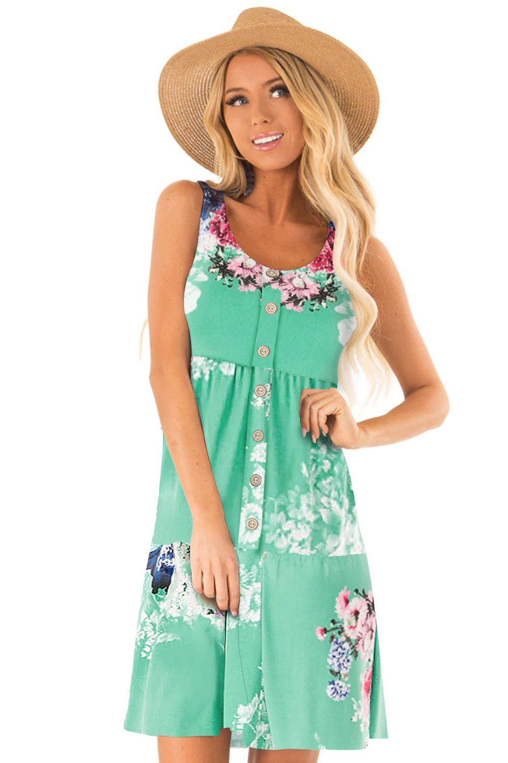 Green Floral Print Sleeveless Button up Dress-Dresses, Floral Dresses-Azura Exchange
