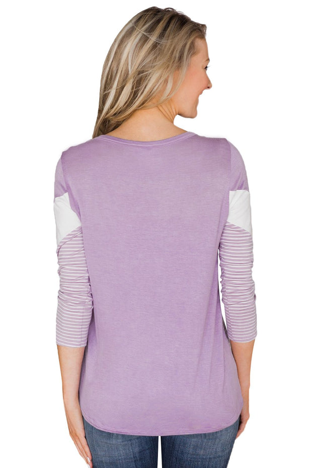 Lilac White Striped and Chevron Colorblock Top-Tops, Long Sleeve Tops-Azura Exchange