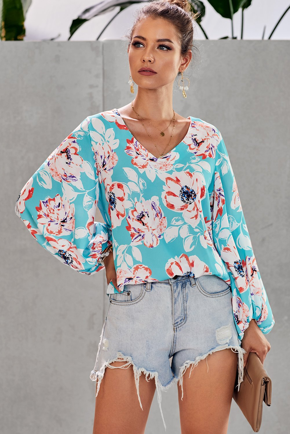 Multicolor Boho Print Balloon Sleeve Blouse-Tops, Blouses & Shirts-Azura Exchange