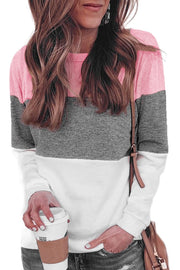 Multicolor Round Neck Long Sleeve Color Block Top-Tops, Long Sleeve Tops-Azura Exchange