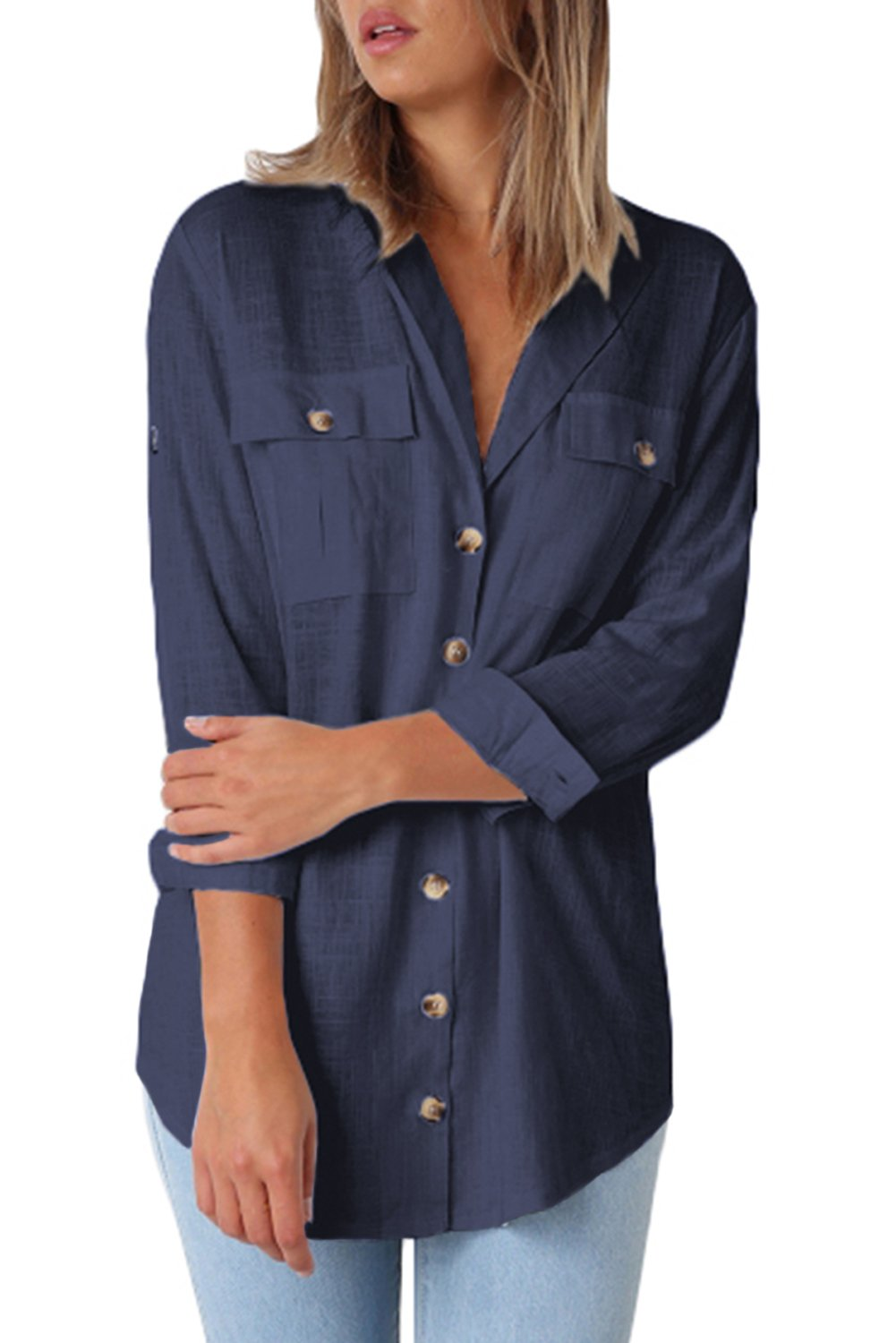Navy Blue Buttoned Pockets Shawl Collar Linen Blouse-Tops, Blouses & Shirts-Azura Exchange
