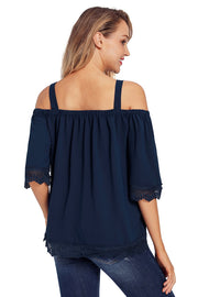 Navy Blue Crochet Lace Trim Cold Shoulder Blouse-Tops, Tops & Tees-Azura Exchange