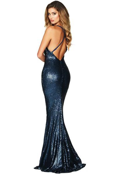 Navy Daring Bare Back Sequined Mermaid Gown-Dresses, Evening Dresses-Azura Exchange