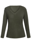 Olive Ribbed V Neck Cold Shoulder Top-Tops, Long Sleeve Tops-Azura Exchange