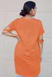 Orange Defying Gravity High Low Knit Top-Tops, Tops & Tees-Azura Exchange