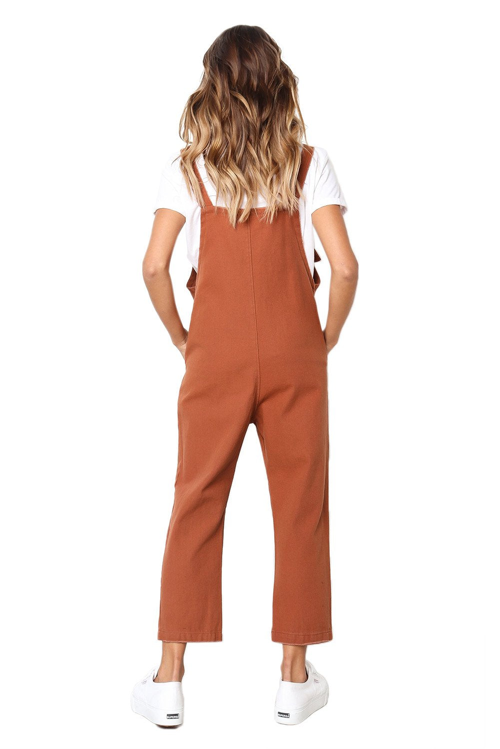 Orange Pockets Dungaree Jumpsuit-Outerwear, Jumpsuits & Rompers-Azura Exchange