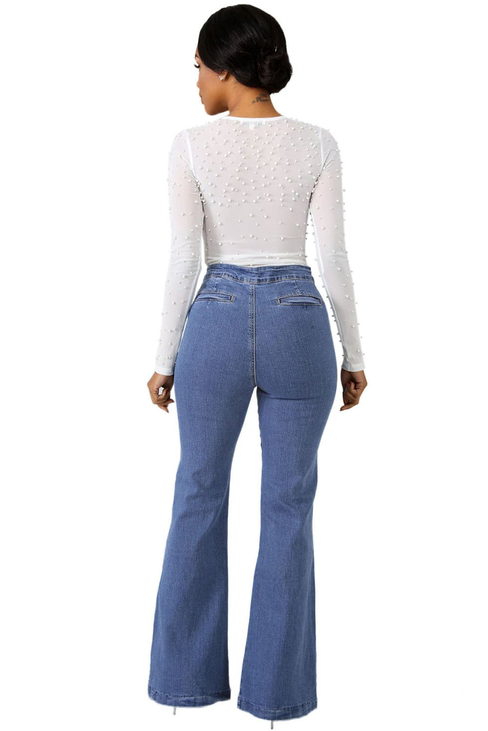 Pearly Denim Jeans-Bottoms, Jeans-Azura Exchange