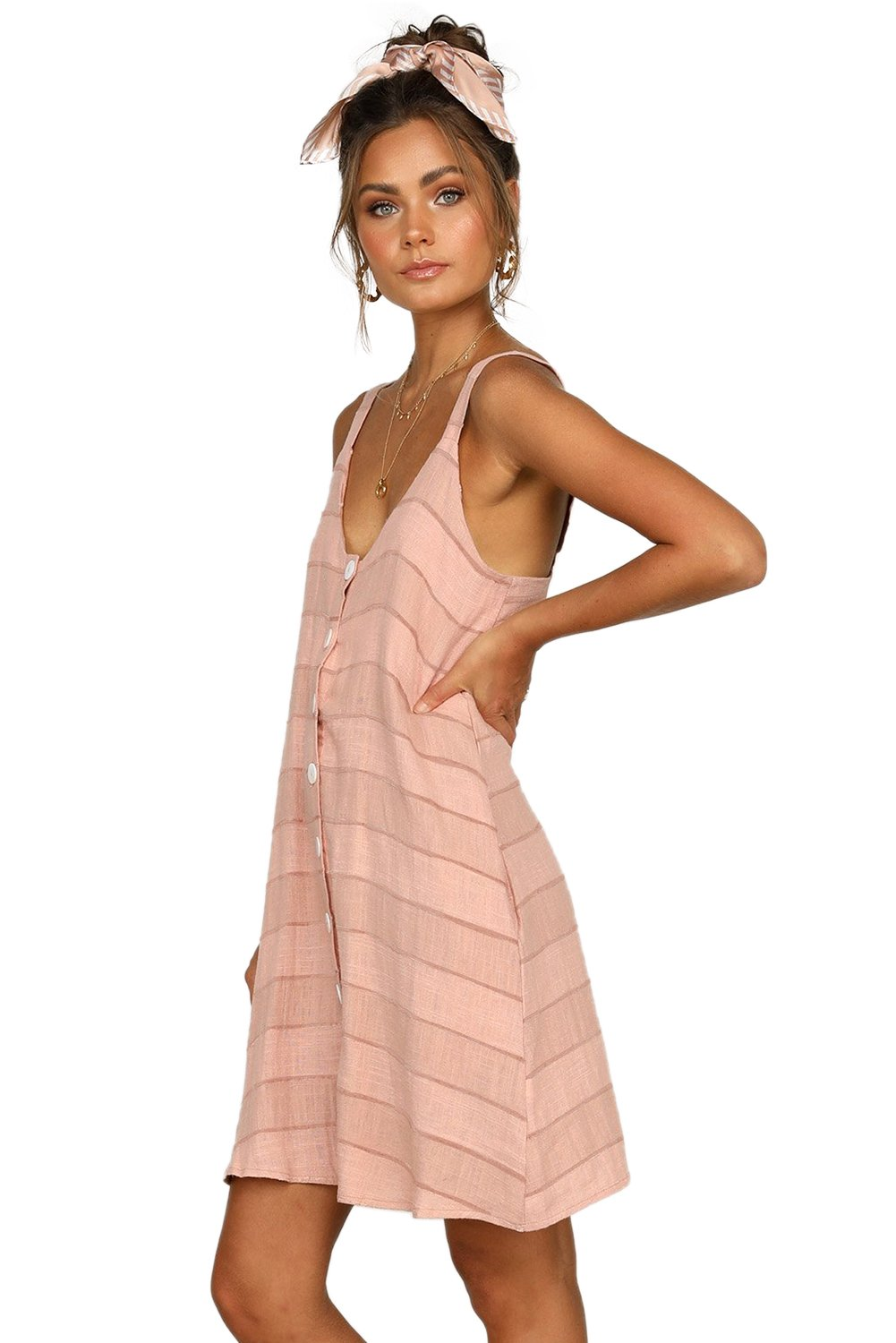 Pink Buttoned Loose Fit Summer Slip Dress-Dresses, Mini Dresses-Azura Exchange