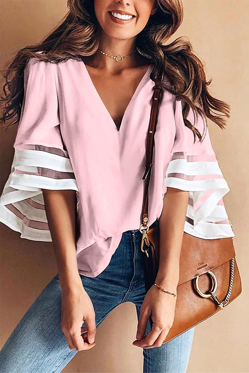 Pink Contrast Color Flare Sleeve V Neck Loose Blouse-Tops, Blouses & Shirts-Azura Exchange