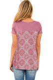 Pink Criss Cross Neck Retro Floral Print Back Tee-Tops, Tops & Tees-Azura Exchange