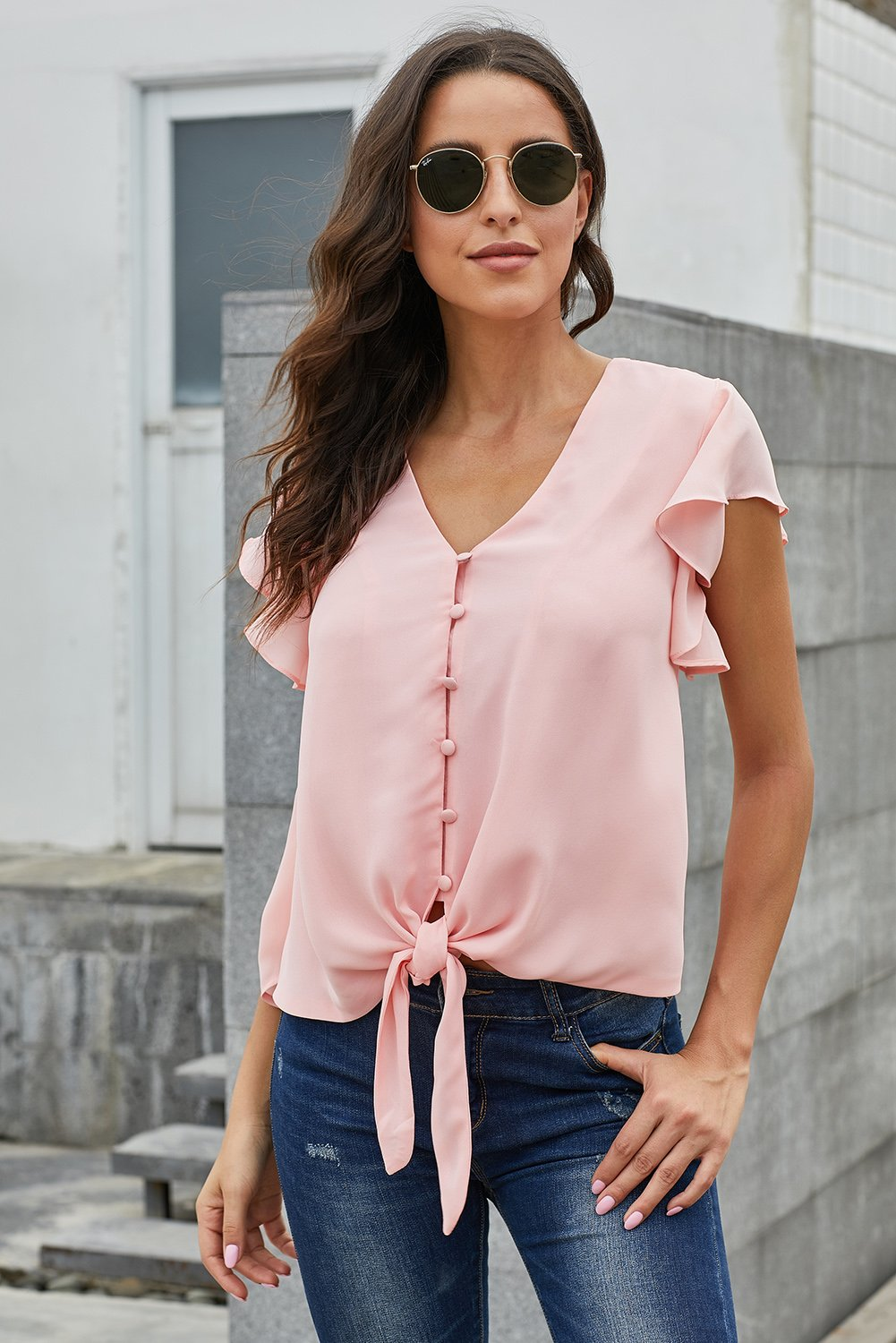 Pink Forever Tonight Button Down Tie Top-Tops, Blouses & Shirts-Azura Exchange