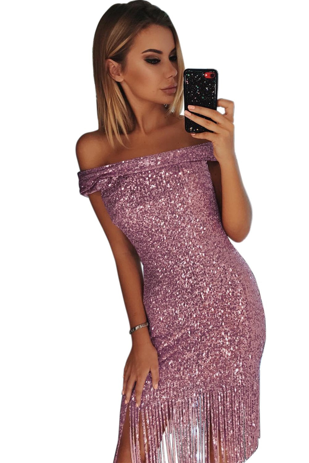 Pink Fringe Hemline Convertible Style Sequin Dress-Dresses, Midi Dresses-Azura Exchange