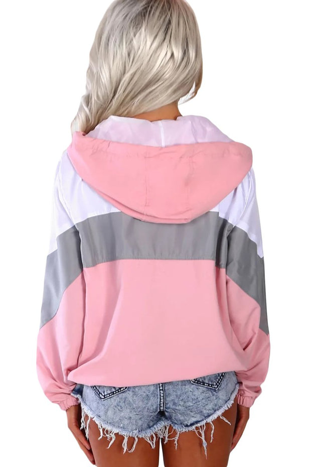 Pink Hooded Triple Color Block Sporty Jacket-Outerwear, Suits & Coats-Azura Exchange