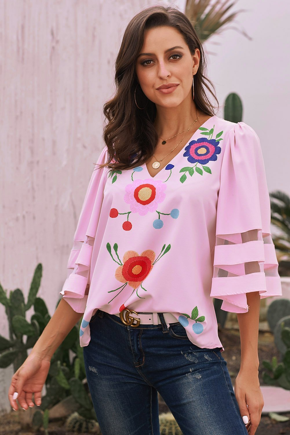 Pink Sexy V Collar Floral Print Bell Sleeve T-shirt Blouse-Tops, Blouses & Shirts-Azura Exchange