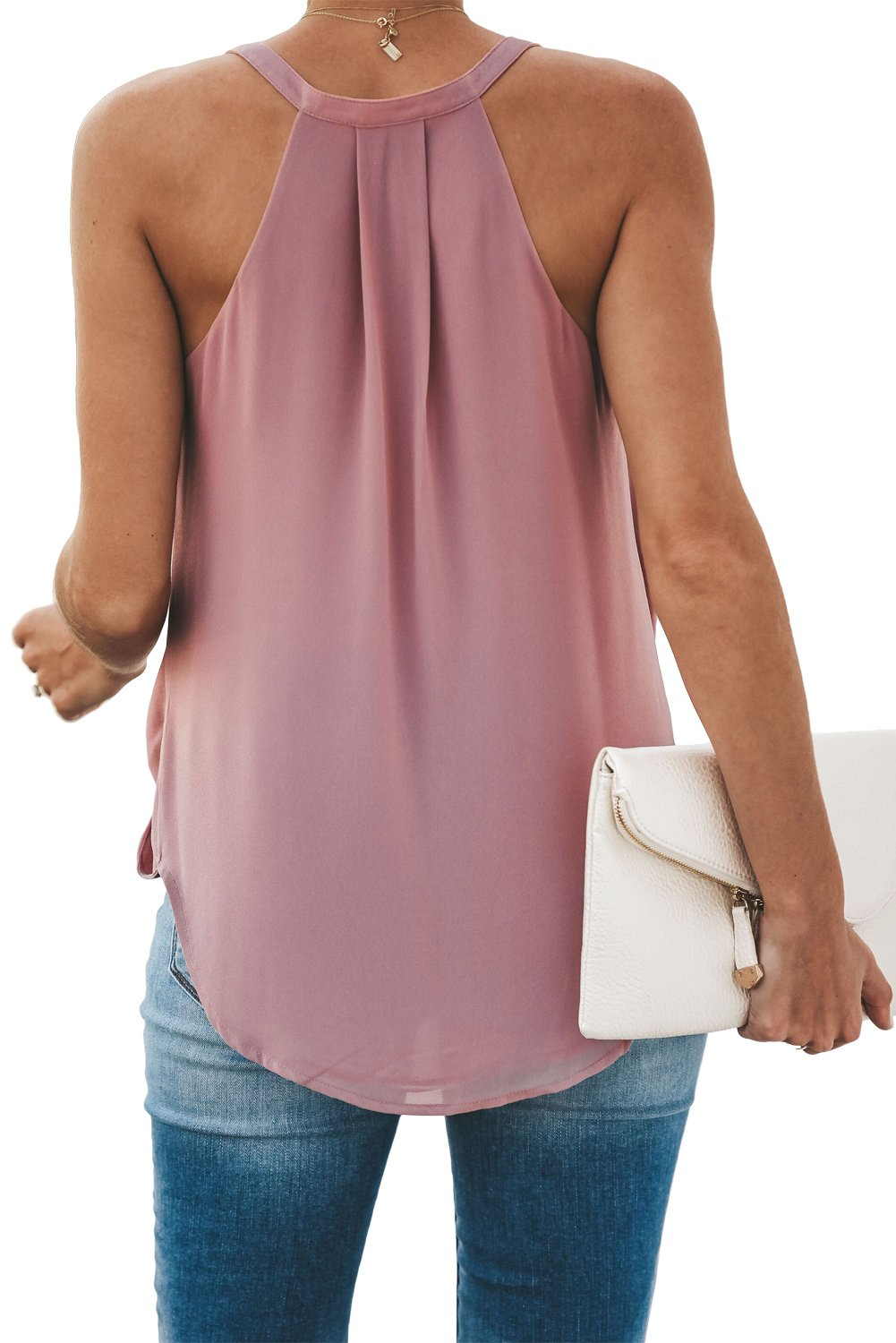 Pink Slip In Wrap Front Summer Tank Top-Tops, Tank Tops-Azura Exchange