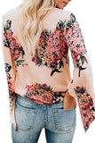 Pink V Neck Flared Sleeve Floral Blouse-Tops, Blouses & Shirts-Azura Exchange