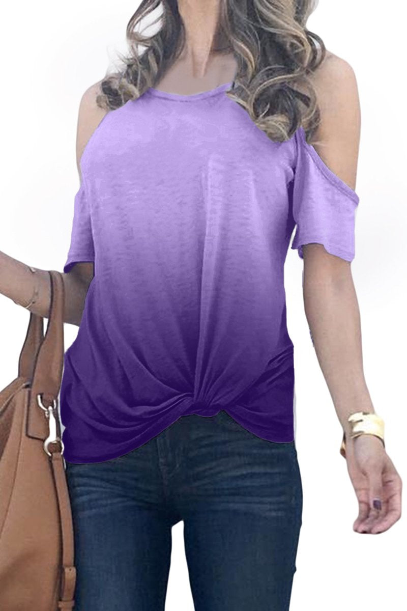 Purple Gradient Cold Shoulder Knot Twisted T-Shirt-Tops, Tops & Tees-Azura Exchange