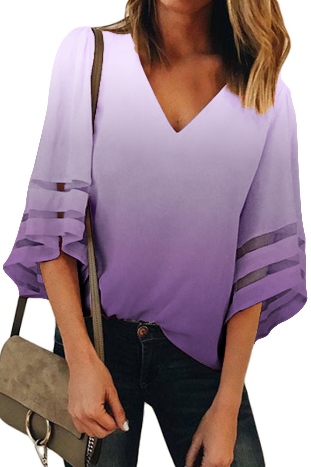 Purple Ombre Bell Sleeve V Neck Relaxing Fit Blouse-Tops, Blouses & Shirts-Azura Exchange