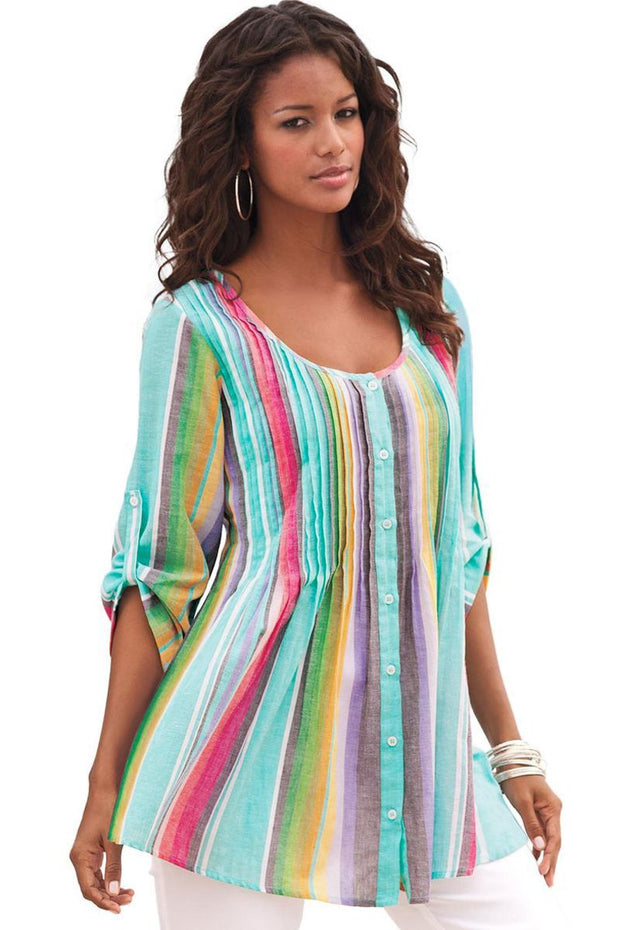 Rainbow Pleated Stripe Button Front Tunic-Tops, Tunic Tops-Azura Exchange
