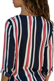 Red Accent Stripe Long Sleeve V Neck Shirt-Tops, Long Sleeve Tops-Azura Exchange