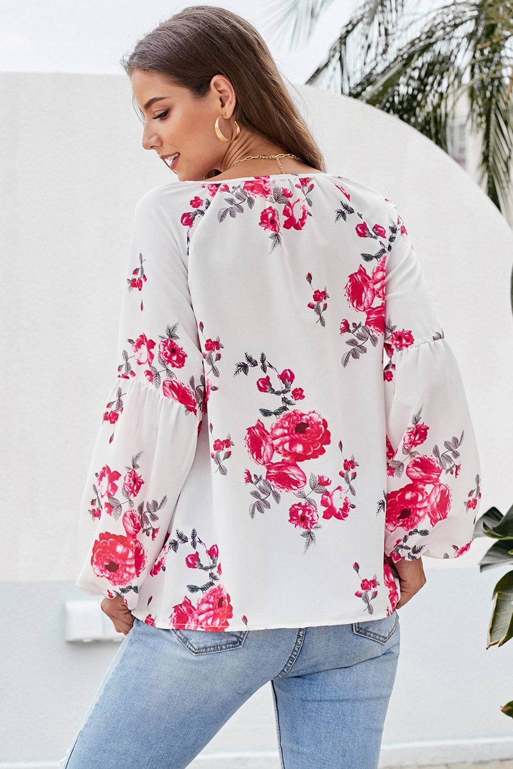 Red Ballon Sleeve Floral Shirt Top-Tops, Blouses & Shirts-Azura Exchange