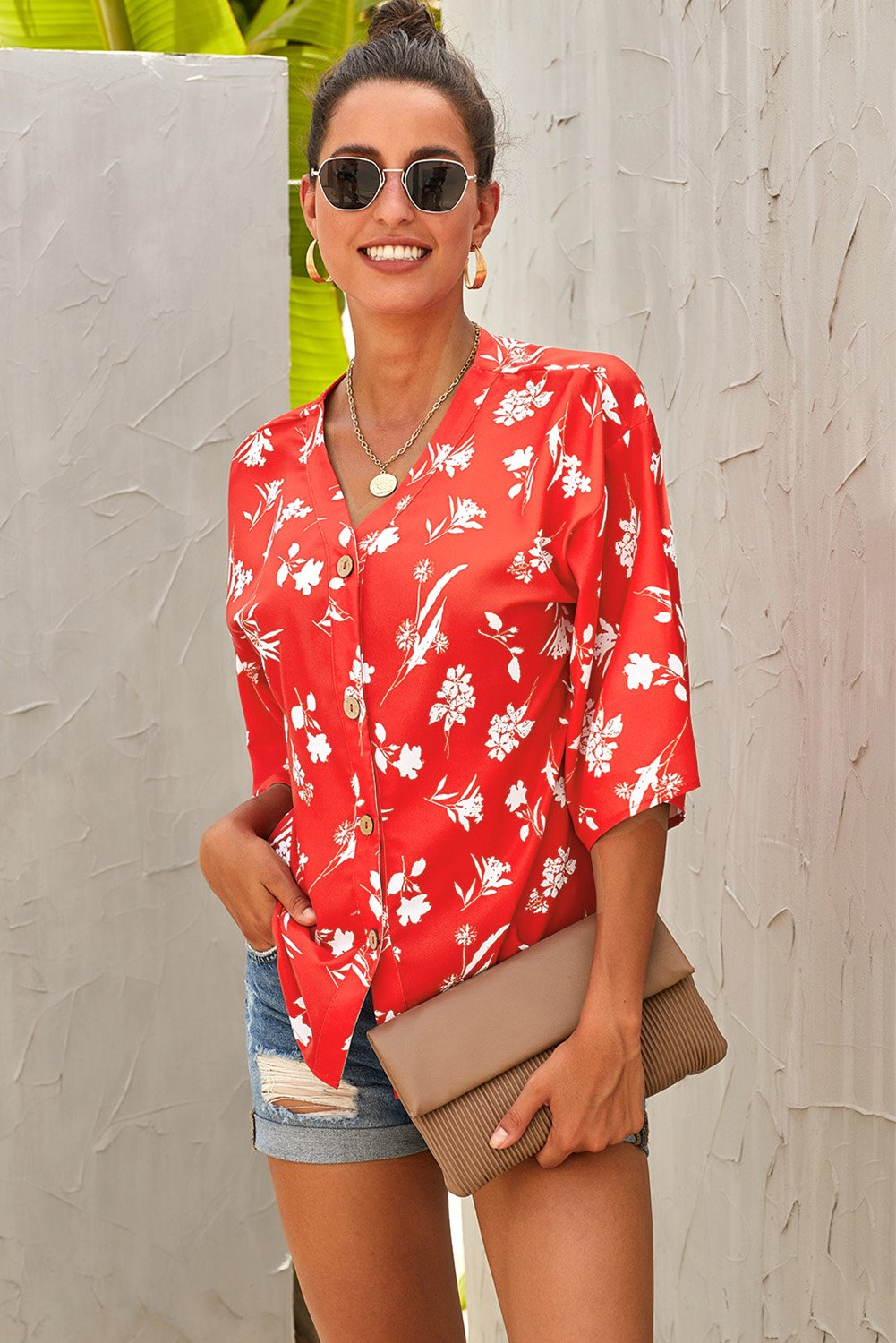 Red Floral Button Down Top-Tops, Blouses & Shirts-Azura Exchange