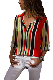 Red Multicolor Stripe Long Sleeve Button Down Shirt-Tops, Long Sleeve Tops-Azura Exchange