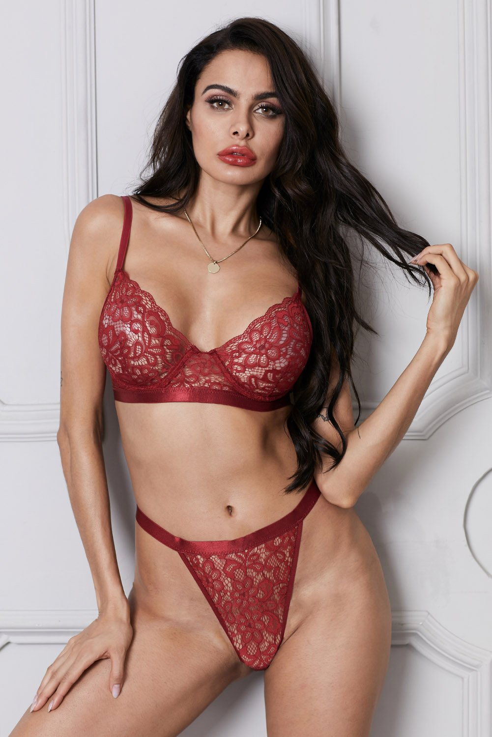 Red Romantic Night Lace Bralette Lingerie Set-Lingerie, Bralettes-Azura Exchange