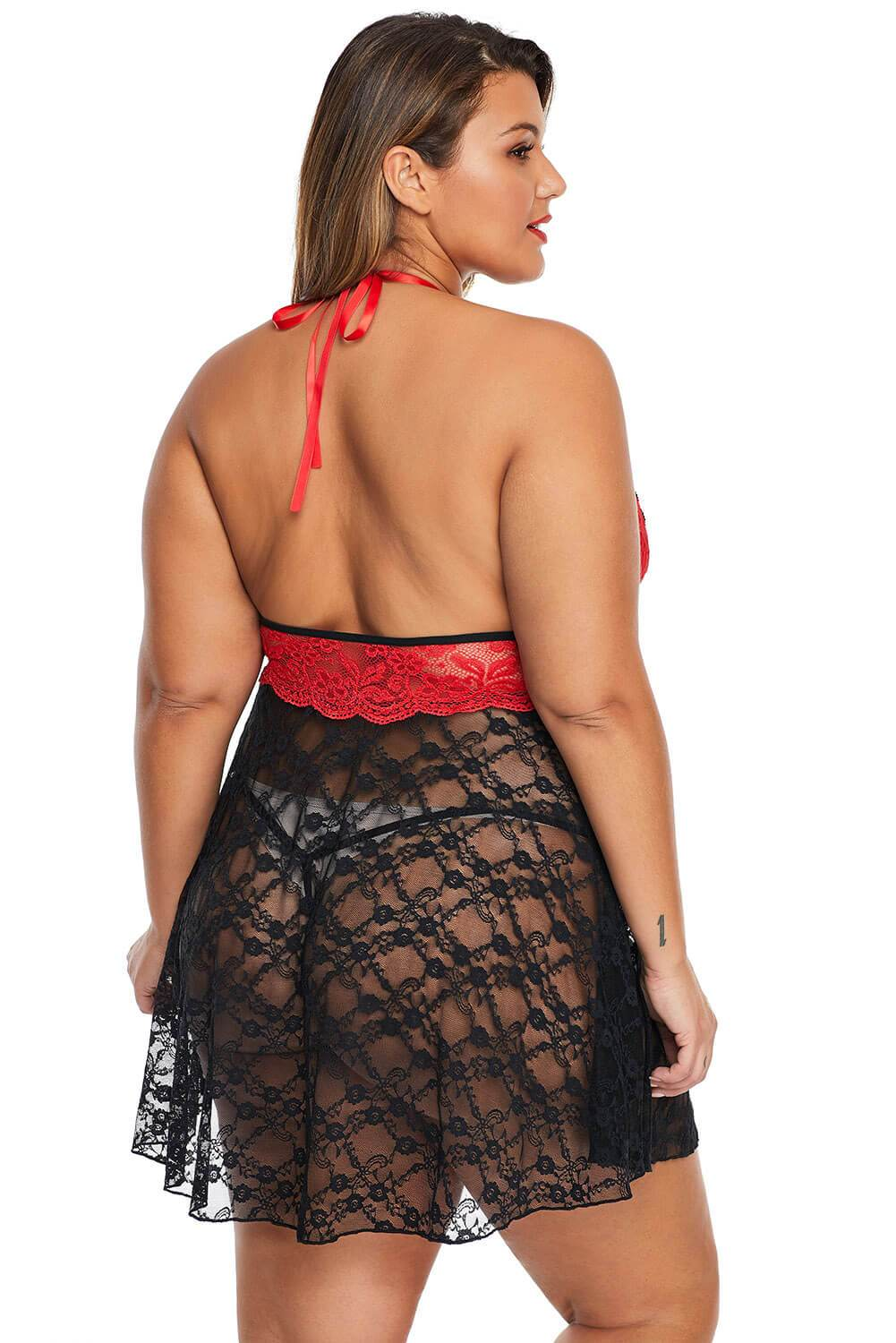Red Sexy Lace Backless Halter Plus Size Babydoll-Plus Size Clothing, Plus Size Lingerie-Azura Exchange