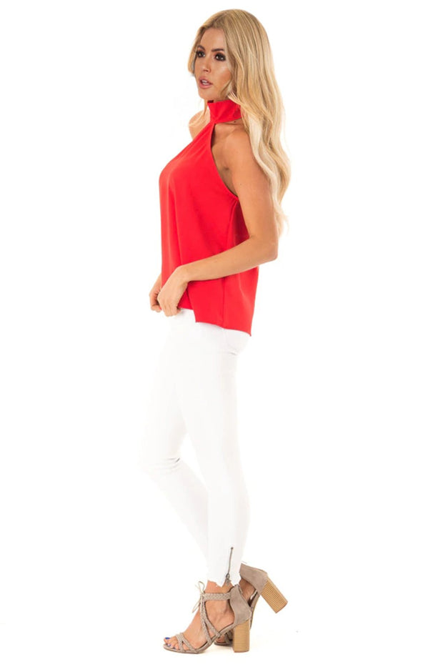 Red Sleeveless Halter Top with Keyhole Back-Tops, Tank Tops-Azura Exchange