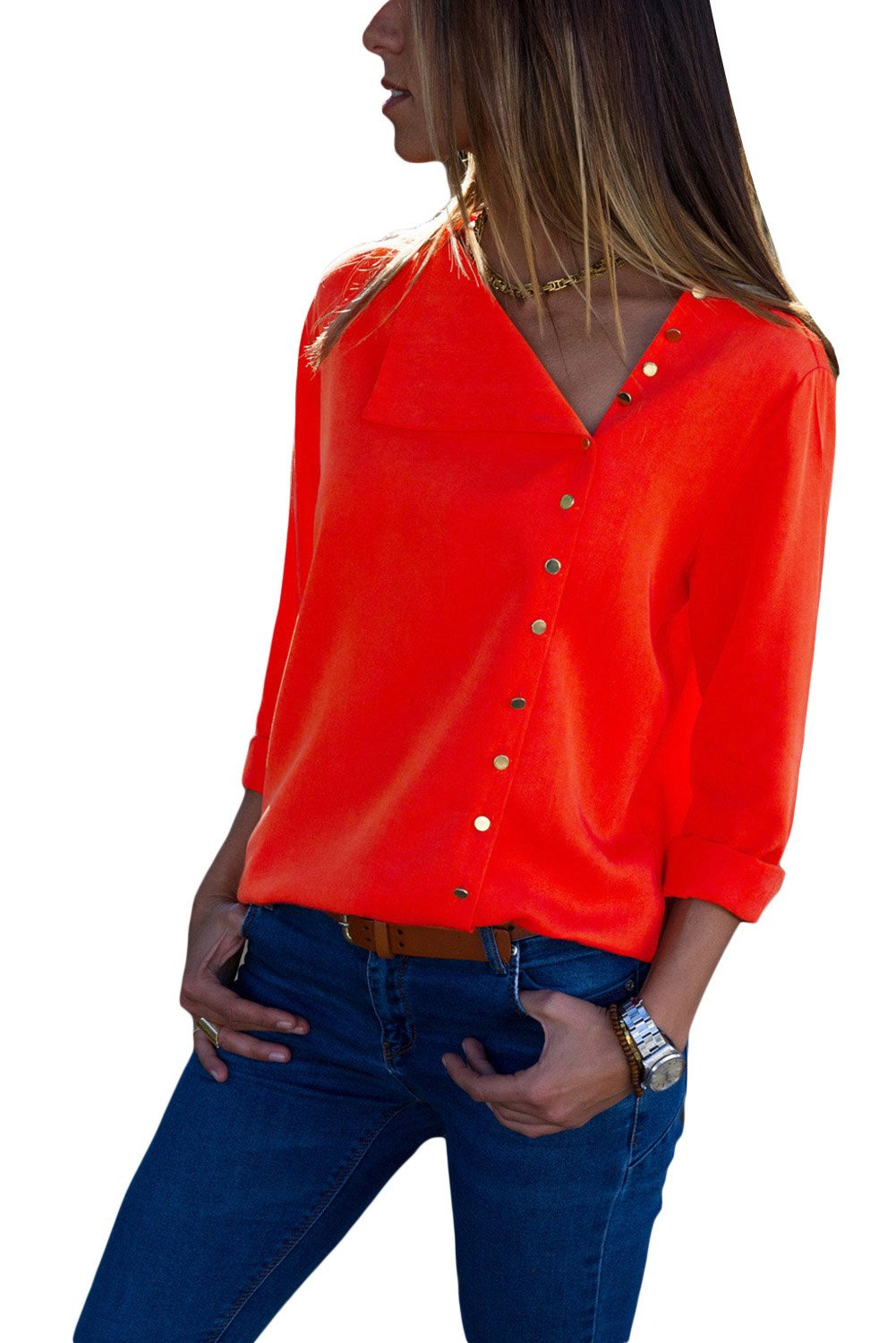 Red Turndown Collar Asymmetric Button Down Blouse-Tops, Blouses & Shirts-Azura Exchange