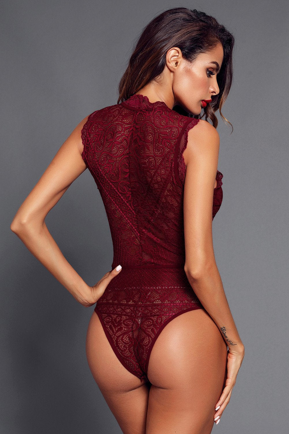 Red V Neck Hollow-out Lace Bodysuit-Lingerie, Bodysuits-Azura Exchange