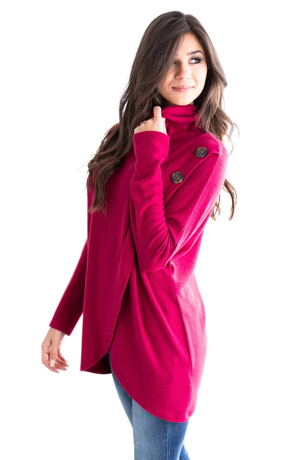 Rosy Button Cowl Neck Overlap Tunic Top-Tops, Tunic Tops-Azura Exchange