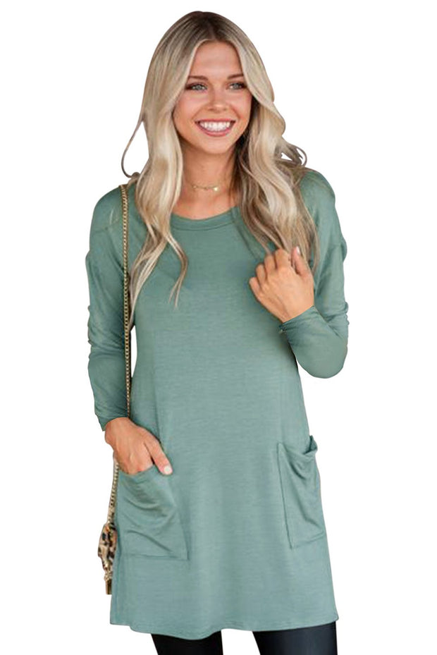 Sage Green Button Back Long Sleeve Tunic Top-Tops, Long Sleeve Tops-Azura Exchange