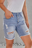 Sky Blue Button Front Distressed Shorts-Bottoms, Jeans-Azura Exchange