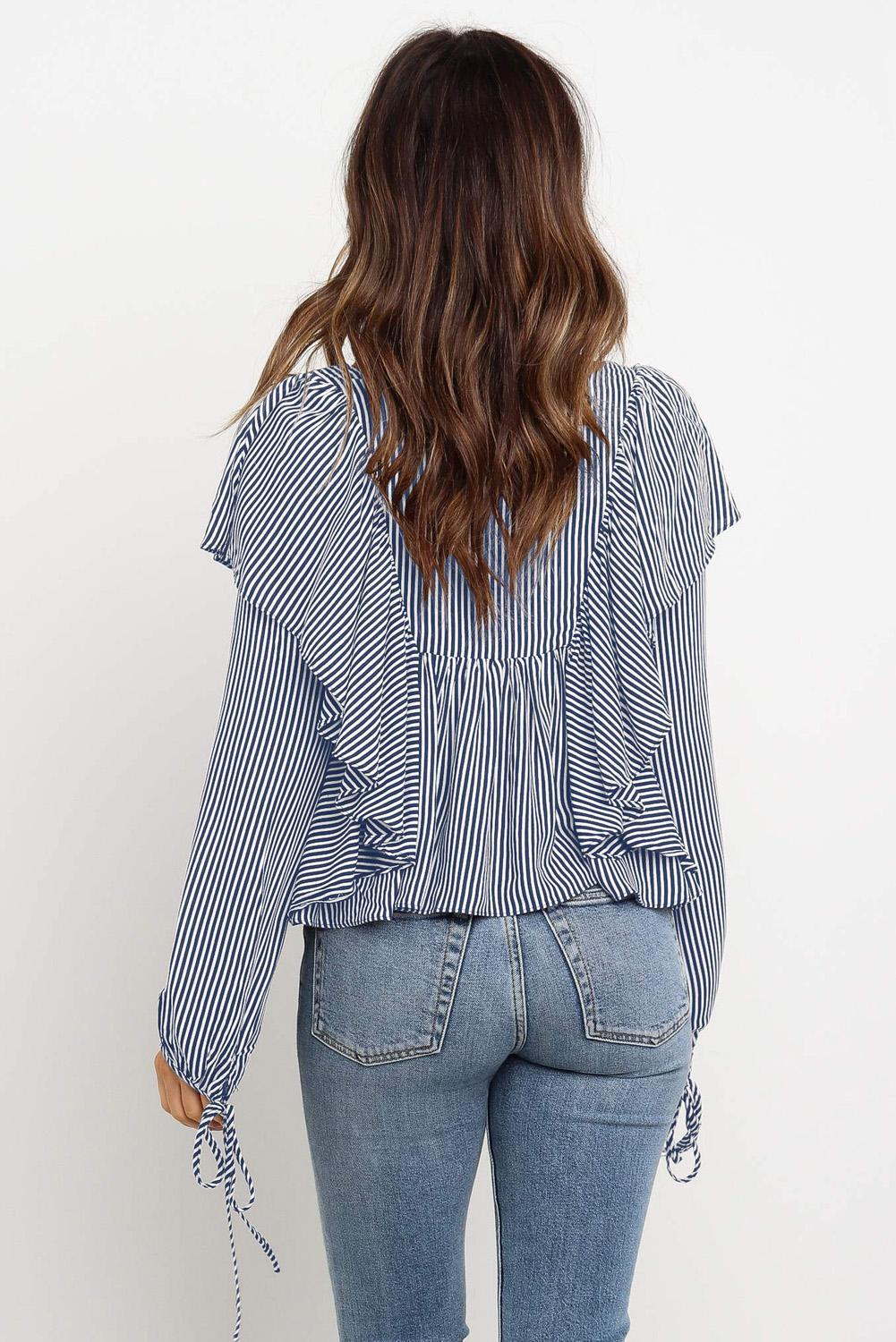 Sky Blue Button Ruffle&Tie Striped Shirt-Tops, Blouses & Shirts-Azura Exchange